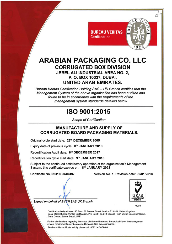 ISO 9001 2015 Certificate copy
